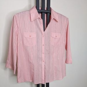 Style & Co Pink blouse w/silver tinsel Size 18